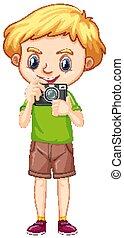 menino, um, câmera, feliz