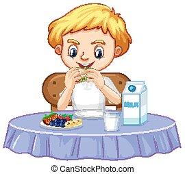 menino, um, feliz, pequeno almoço, comer