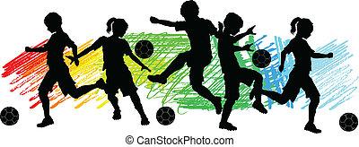 meninos, futebol, crianças, meninas, silhouet