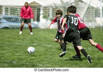 meninos, futebol, tocando