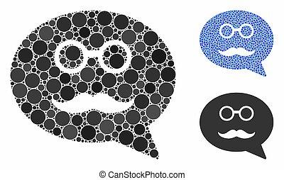 mensagem, ícone, itens, smiley, composição, spheric, avô