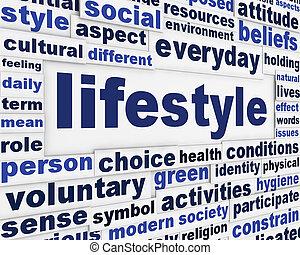 mensagem, estilo vida, fundo, criativo