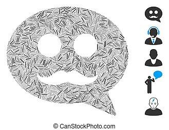 mensagem, vetorial, ícone, smiley, macho, linha, colagem