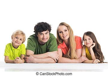 mentindo, casual, família, chão