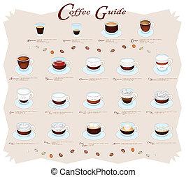 menu, café, guia, cobrança, ou
