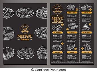 menu, vetorial, restaurante