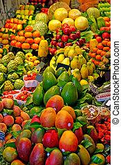 mercado, barcelona, foco., famosos, seletivo, spain., mundo, fruits.
