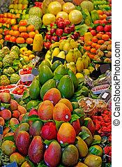 mercado, la, barcelona, boqueria, famosos, mundo, spain., fruits.