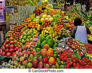 mercado, la, boqueria, barcelona, foco., famosos, seletivo, mundo, spain., fruits.