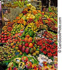 mercado, la, stall., barcelona, boqueria, famosos, frutas, mundo, spain.