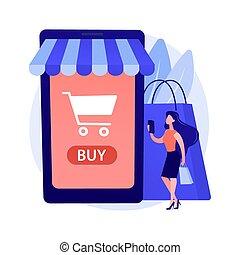 metáfora, conceito, online, vetorial, shopping