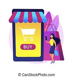 metáfora, online, conceito, vetorial, shopping