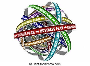 meta, negócio, missão, ilustração, estratégia, plano, 3d