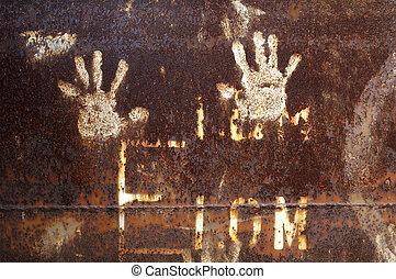 metal enferrujado, handprint