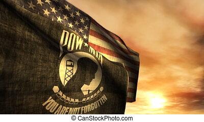 mia, pow, (1097), bandeiras americanas, pôr do sol