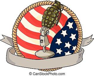 microfone, bandeira eua, retro, círculo, granada