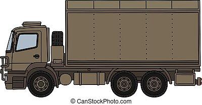 militar, areia, caminhão