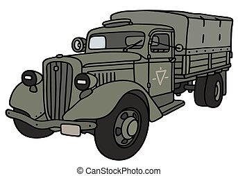 militar, caminhão velho