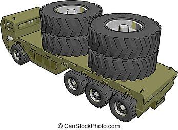 militar, ilustração, branca, caminhão, vetorial, experiência.