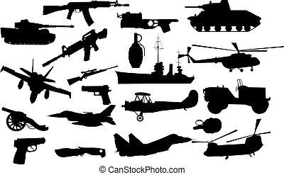 militar, objetos