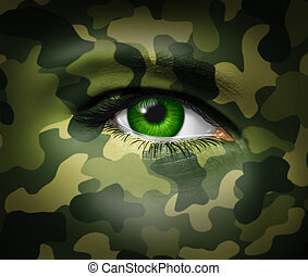 militar, olho, camuflagem