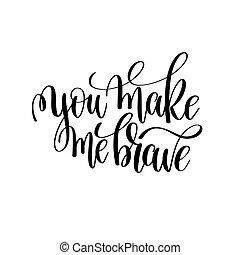 mim, bravos, fazer, modernos, pretas, escova, tu, caligrafia, branca