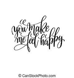 mim, sentir, fazer, modernos, pretas, escova, tu, caligrafia, branca, feliz