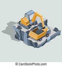 mineração, entulho, escavador, isometric, carvão, vetorial, caminhão, cargas