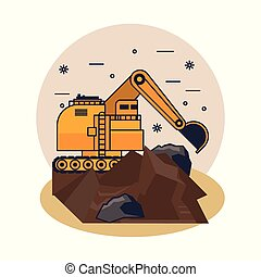 mineração, hidráulico, escavador