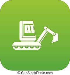 mini, ícone, verde, escavador, digital