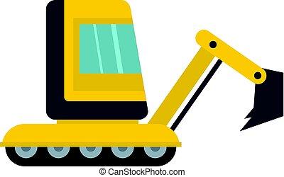 mini, amarela, isolado, escavador, ícone
