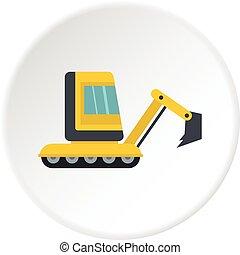 mini, círculo, amarela, escavador, ícone