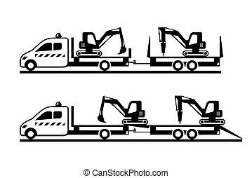 mini, construção, caminhão, tipper, move-se, maquinaria