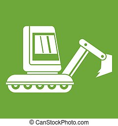 mini, verde, escavador, ícone