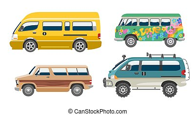 minibus, furgão, família, automático, veículo, automóvel, ilustração, isolado, vetorial, fundo, minivan, citycar, bandeira, branca, car