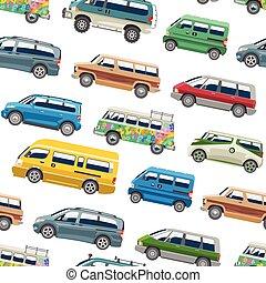 minibus, furgão, família, automático, veículo, automóvel, isolado, vetorial, seamless, fundo, minivan, padrão, citycar, bandeira, branca, car
