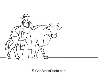 minimalista, agricultura, water., atividades, jovem, concept., gráfico, vaca, desenhar, desenho, único, macho, linha, carregar, sucedido, illustration., esfregar um, enquanto, agricultor, desenho, balde, contínuo, vetorial