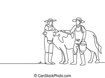 minimalista, agricultura, water., concept., gráfico, vaca, desenhar, desenho, único, macho, sucesso, ilustração, femininas, agricultores, linha, carregar, rubbing, helped., um, enquanto, agricultor, desenho, balde, contínuo, vetorial
