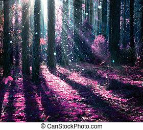 misteriosa, fantasia, antigas, floresta, paisagem.