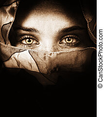 misteriosa, olhos, mulher, sensual
