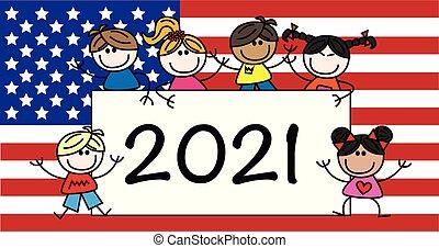 misturado étnico, feliz, 2021, cabeçalho, crianças