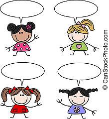 misturado étnico, meninas, crianças, feliz