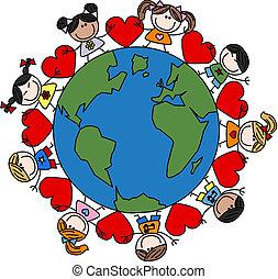 misturado, crianças, amor, étnico, feliz