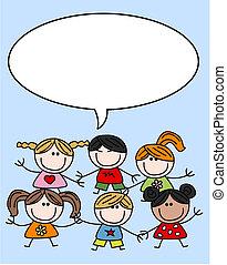 misturado, crianças, crianças, étnico