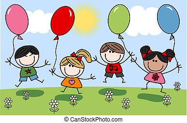 misturado, crianças, feliz