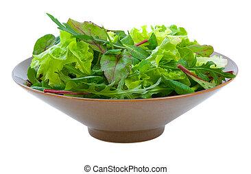 misturado, sobre, salada, branca, verdes