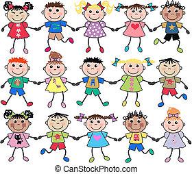 misturado, unidas, crianças