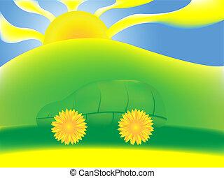 misturando, car, verde