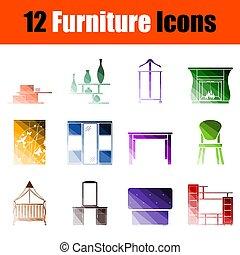 mobília, jogo, ícone