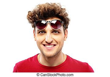 moda, óculos de sol, sobre, fundo, branca, homem, feliz